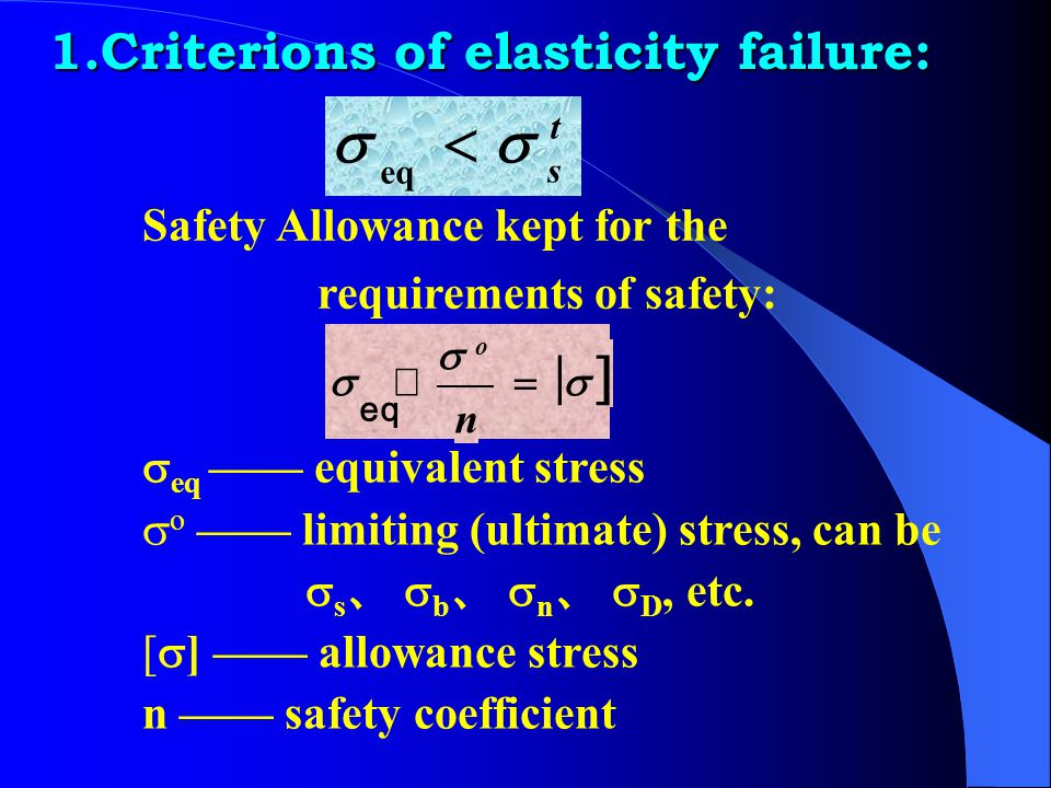 < [ ] 1.Criterions of elasticity failure: